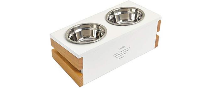 2位 【ラディカ】 猫 食器台 ダブルフードボウル&ウッドテーブル