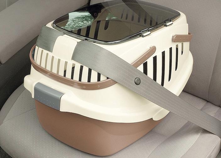 シートベルト固定機能付きだから車移動も安全